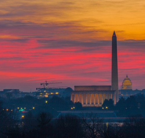 Photograph of a sunset over Washington, DC