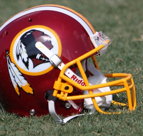 Photograph of a Washington Redskins football helmet