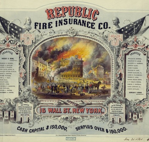 Photograph of a Republic Fire Insurance Co. certificate.