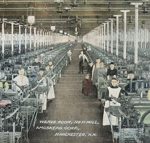 Photograph of a weave room in a textile factory