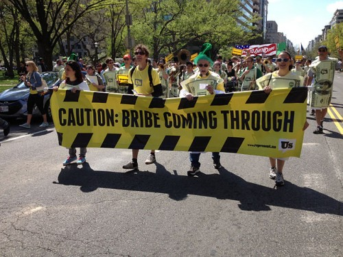 """""""Caution Bribe Coming Through."""" March in Washington, DC, April 13, 2013, by Represent.Us"""