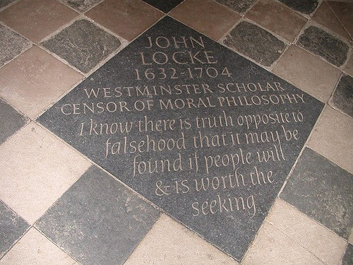 Memorial stone of John Locke in Christ Church, Oxford.