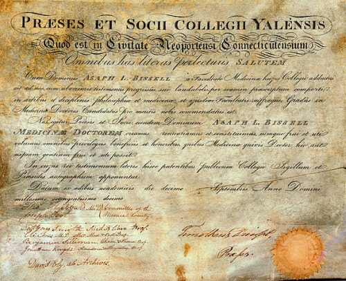Yale medical diploma awarded Asaph Leavitt Bissell, Class of 1815, signed by school's four professors and Timothy Dwight IV